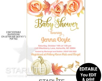 Fall Baby Shower Invitation Instant Download, EDITABLE Fall Baby Shower Invitation Digital, Fall Baby Shower Invitation Pumpkin Printable