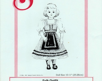 Seeley's Dollmaker's Pattern No. CP1301 Folk Outfit Doll Siae 10-11""