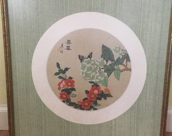 Vintage Chinese Painting on Silk Floral Botanical Butterfly Signed and Stamped Asian Art vintage home decor