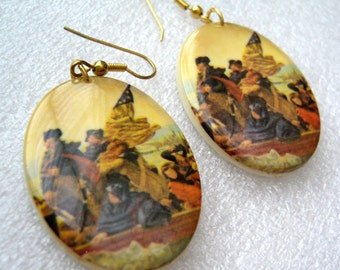 Vintage printed plastic large earrings
