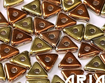 CALIFORNIA GOLD RUSH: Tri-Bead Czech Glass Triangle Bead, Sequin or Spacer, Reversible 4mm (5 grams)