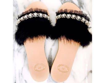 "Handmade greek sandals, ""Evelyn"", feather slides, open toe slides, pearl shoes , artisanal sandals"