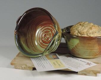 Bread Baker, Beer Bread Pot, Bread Crock, Bread Pan, Brown Green Glaze