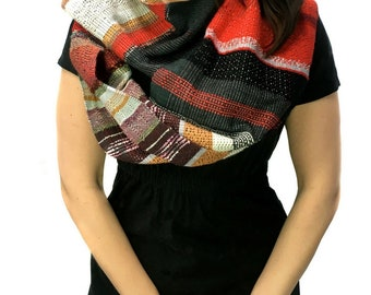Poppy | Handwoven Red Textured Scarf | Colorful Womens Fashion | Woven Gifts for Men and Women | Chevron + Diamond Patterned Scarf | J4