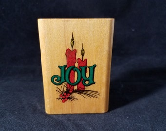 Joy Christmas Stamp  -Rubber Stamp - Used