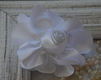 """Satin Fabric Roses, Rolled Rosettes, White Satin Rolled Rosettes, 3"""" Satin Roses, Rolled Roses, Rolled Satin Roses, A2"""