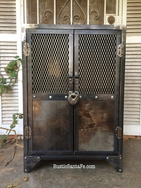 Beautiful Industrial Steel Locking Liquor Cabinet, Industrial Nightstand, Vintage  Locker, Rustic Cabinet, Wood And Metal Stand