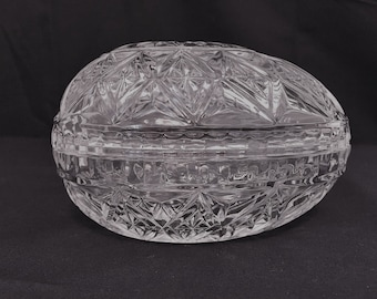 Vintage Cut Glass Egg Dish, Cut Glass Egg, Candy Dish, Ring Holder, Soap Dish, Jewelry Box