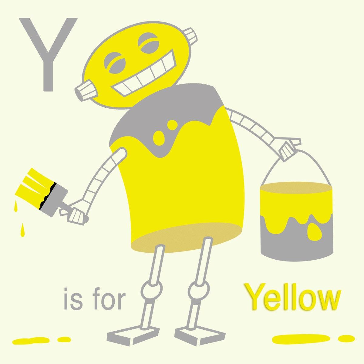 Alphabet Art Print Robot Art Y is for Yellow Letter art