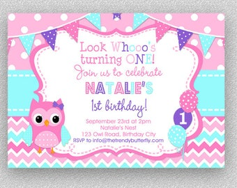 Owl birthday invitation owl birthday party invitation pink purple turquoise owl invitation girls owl birthday invitation owl 1st birthday invitation filmwisefo Image collections