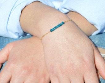 Apatite Bracelet, Danity Stacking Bracelet, 14k Gold Fill, Sterling Silver, Rose Gold, Blue Bracelet, Apatite, Bar Bracelet, Gold Bracelet