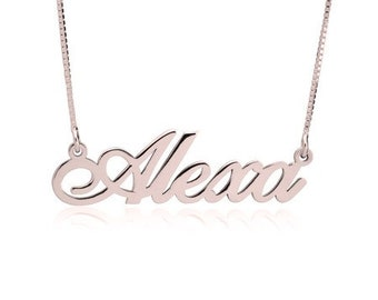 Personalized Custom Name Necklace, Gifts for Her, Bridesmaid Gifts, Birthday Gift, Nameplate, Rose gold Personalized