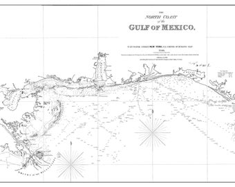Gulf of Mexico Map - St. Marks to Galveston - White (zoom)