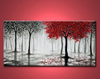 The Red Tree Falling, Wall Art, Abstract Canvas Painting