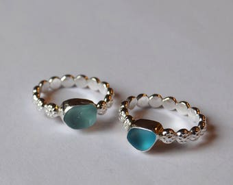 Sterling Silver Bezel Genuine Sea Glass Ring with Daisy Band