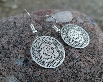 Rose Flower Charm Earrings - Silver Round Charm Jewelry - Lightweight Earring Charms - Floating Locket Charms - Valentine's Gift Ideas