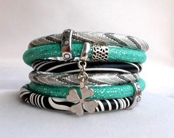 wrap bracelet , double wrap bracelet, statement bracelet, leather bracelet, Vacation jewerly, boho style, free shipping