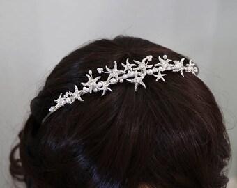 Starfish Headband, starfish wedding headband, starfish wedding hair accessories, bridal starfish tiara starfish, Bayley Starfish Headband