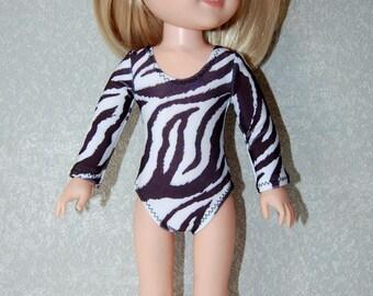 Gymnastics Leotard Doll Clothes Zebra print  handmade for 14.5 inch Wellie Wishers tkct1141 READY TO SHIP