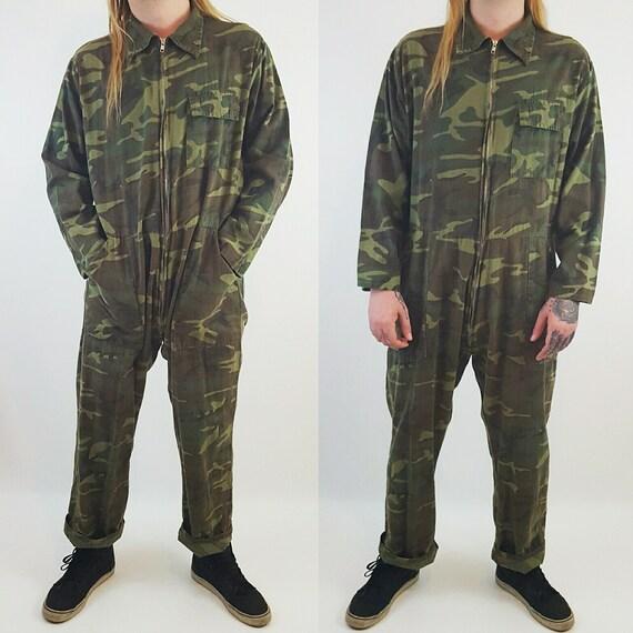 80s Jumper Pants Suit Coveralls Men's XL Extra Large - Utility Minimalist Jumpsuit Pants Camo Suit - VTG Zip Front Camouflage Jumper