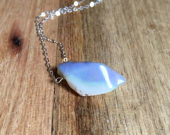 Raw Australian Opal Necklace on Sterling Silver Chain - Opal Jewelry - October Birthstone Necklace