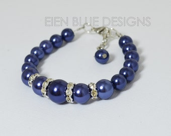 Navy Pearl Bracelet, Navy Pearl And Rhinestone Bracelet, Navy Wedding, Navy blue bracelet and earrings set, Navy Bridesmaid pearl Jewelry