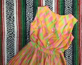 Sixties Neon Psychedelic Dress