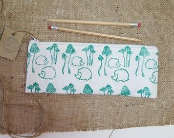 Hedgehog Pencil Case, Woodland Pencil Case, Toadstool Pencil Case, Fabric Pencil Case, Green Pencil Case, Pencil Bag, Pencil Pouch, Pen Case