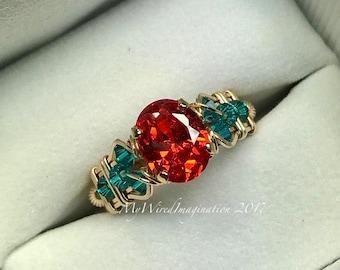 Sapphire Padparadscha Orange CZ,  Wire Wrapped Ring, 14K GF wire, Beads, Blue Zircon Swarovski Crystal, Unique Engagement, Anniversary Ring