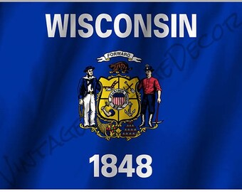 Wisconsin State Flag on a Metal Sign
