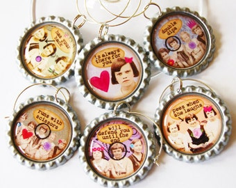 Funny Wine Charms, Sassy Women, Wine Glass Charms, Wine Charms, Humor, retro prints, bottlecap charms, ladies night, Friends (1375)
