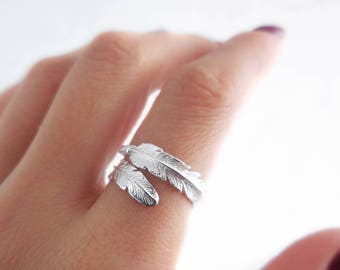 925 Sterling Silber Feder Ring, verstellbarer Ring, Feder-Ring, Boho Ring, böhmischen Ringe, Geschenk für sie, Boho Feder Ring