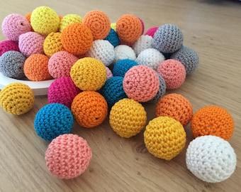 Crochet beads, 20 mm, 5 PCS, wooden crochet cotton beads, crochet round beads, necklace