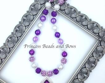Purple Amulet Necklace with Mini Beads , Purple Amulet Necklace, Princess Necklace, Princess Amulet Necklace