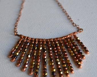 Copper and Czech Glass Bead Chevron Fan Necklace
