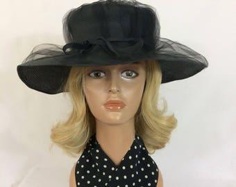 Vintage 1960's Ladies Black Straw Hat with Black Netting //Elegant Black Hat