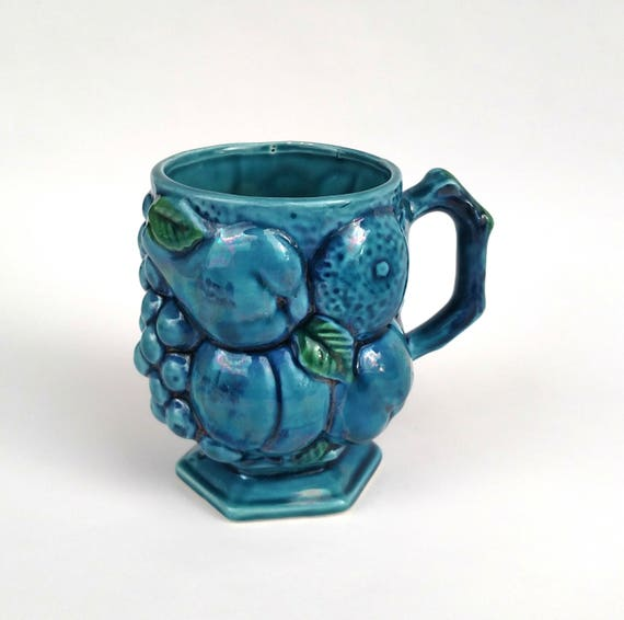 Vintage 1960's Ceramic Blue Fruit Bowl Mug by Inarco
