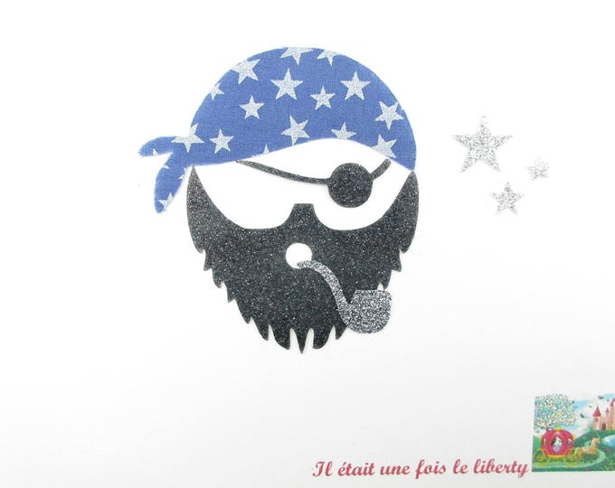 Applied fusible pirate fabric blue stars + glitter flex black and gray patch iron-on ground pirate fusible pirate head