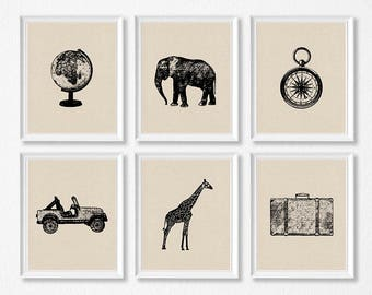 PRINTABLE Safari Travel Nursery Art Print Set, Elephant, Giraffe, Compass, Globe, Vintage Travel Nursery Prints, Vintage Safari Boy Bedroom