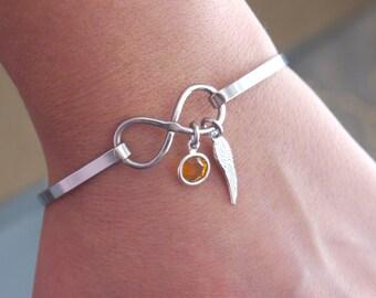 Angel Wing Bracelet, Birthstone Bracelet, Infinity Bracelet, Infinity Wing Bracelet, Memorial Gifts, Miscarriage Gifts, Guardian Angel Gifts