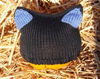 SALE little black cat hat. with blue.
