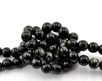 100 pcs - 1 strand of 8 mm Black Mottled Glass Beads