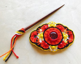 Handmade Guatemalan Beaded Hair Accessory Barrette Clip w/ Wooden Stick Gift