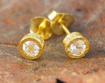 Gold Stud Earring, Diamond Cut Earring, Natural Clear Gemstone, White Topaz Earrings, Semi-Precious Studs, Gold Studs, 18 Carat Gold Plating