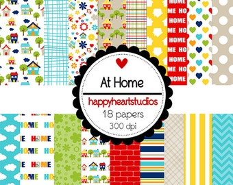 DigitalScrapbooking AtHome houses, flowers, doodles, -InstantDownload