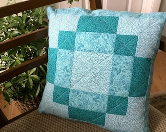 Turquoise Quilted Pillow Cover Handmade Patchwork 16 inch Decorative Aqua Pillow Cover