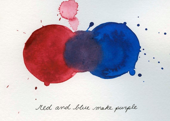mixing colors red and blue make purple print from original. Black Bedroom Furniture Sets. Home Design Ideas