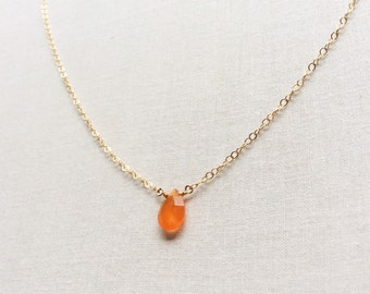 Gold Carnelian Necklace, Carnelian Necklace, Carnelian Jewelry, Tiny Carnelian Necklace, Orange Necklace, Orange Stone Necklace, GN14