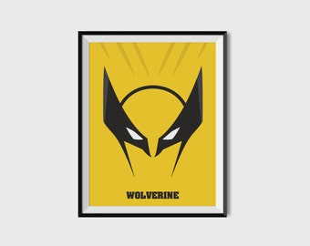 Wolverine X-Men Print - Minimalist, Marvel Comics, Comic Print, X-Men, Superhero Wall Art