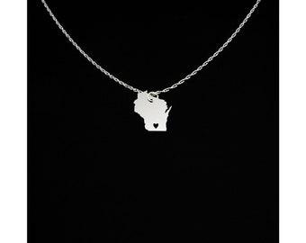 Wisconsin Necklace - Wisconsin Jewelry - Wisconsin Gift - Valentines Day Gift